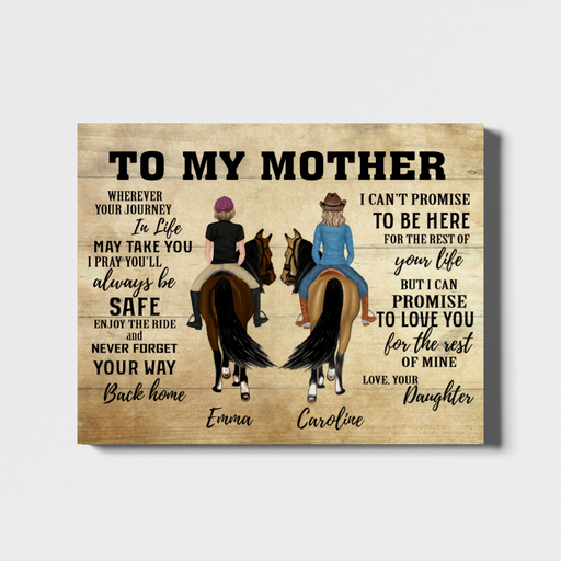 Custom Riding Horse Mother and Daughter Landscape Canvas Personalized Gift for Mom