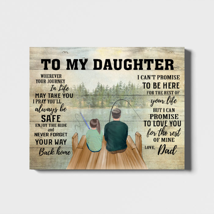 Custom Dad To Daughter Landscape Canvas Personalized Gift For Fishing Lovers