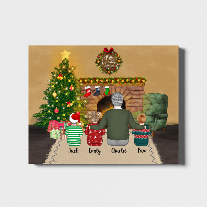 Personalized Landscape Canvas - Grandfather And Kids Custom Gift For Christmas