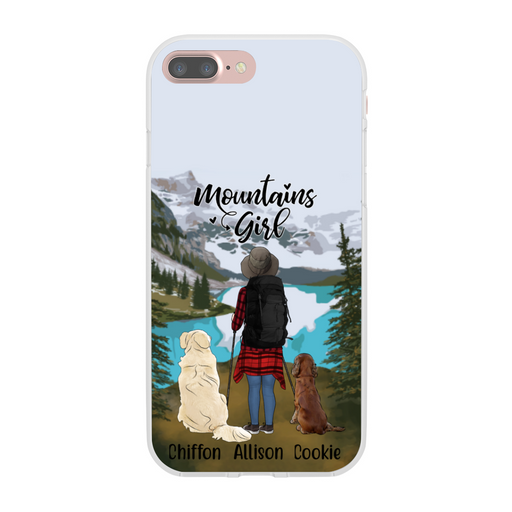 Personalized Phone Case - Hiking Woman with Dogs Custom Gift for Dog Lovers