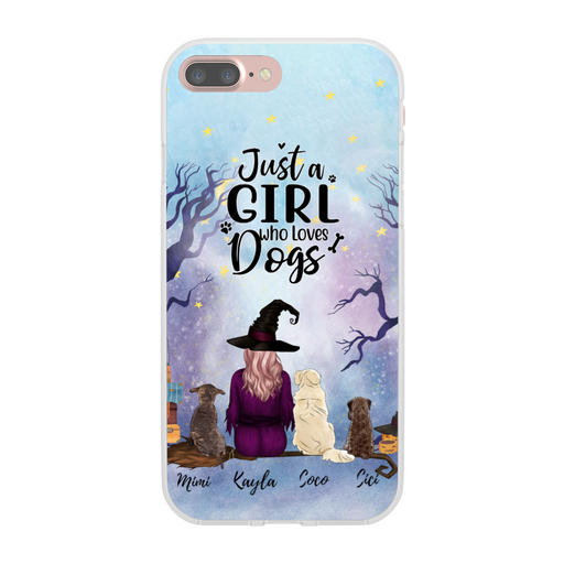 Custom Witch Girl with Dogs Phone Case Personalized Gift for Dog Lovers
