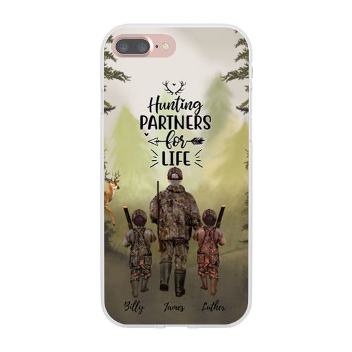 Personalized Phone Case - Hunting Dad and Two Kids Custom Gift for Hunting Lovers