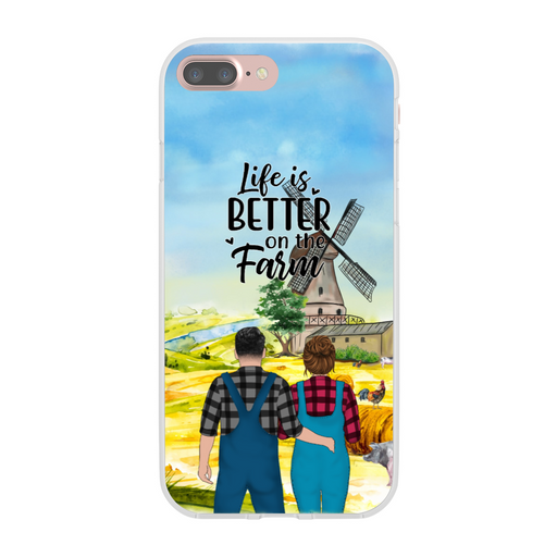 Custom Farmer Couple Standing Personalized Phone Case Gift For Farming Lover