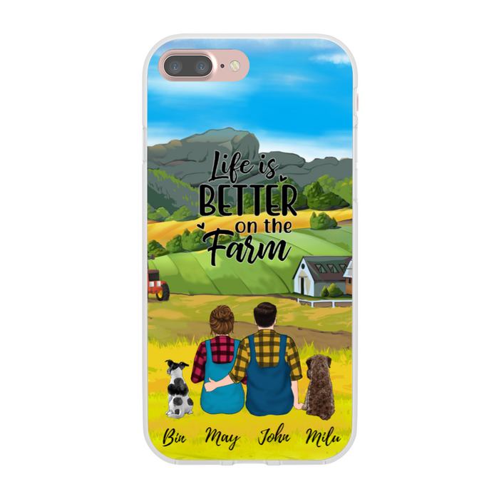 Custom Farmer Couple Sitting With Dogs Personalized Phone Case Gift For Dog Lovers