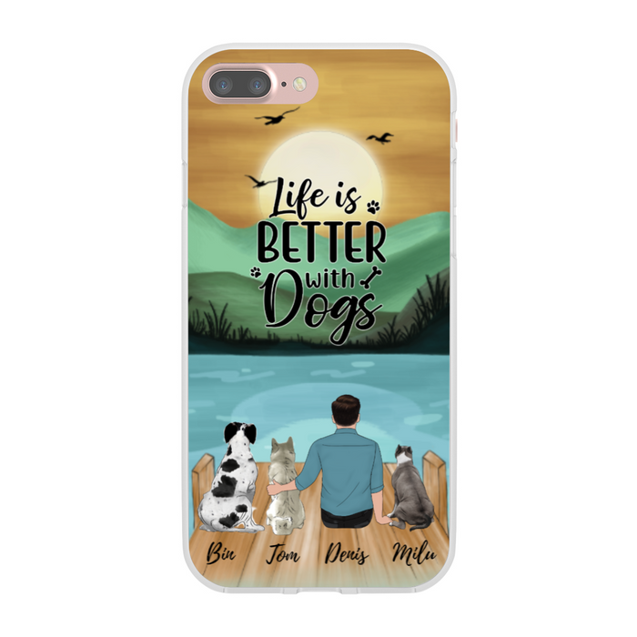 Custom Man With Dogs Personalized Phone Case Gift For Dog Father Dogs Lovers