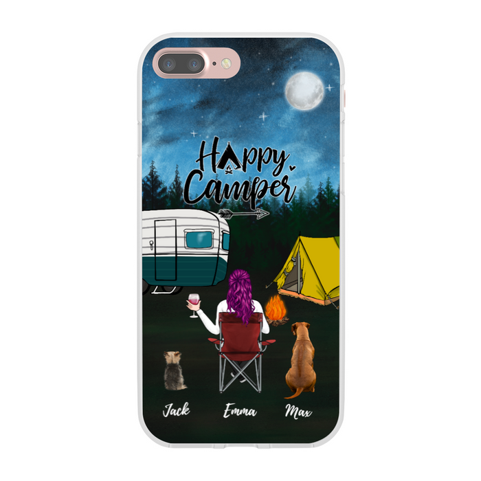 Custom Girl and Dogs Phone Case Personalized Gift For Camping Lover