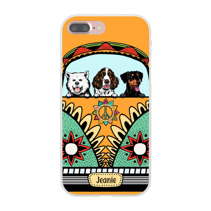Personalized Case - Dogs On Hippie Van Custom Gift For Dog Lovers