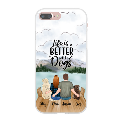 Personalized Phone Case - Couple and Dogs Custom Gift for Dog Lovers