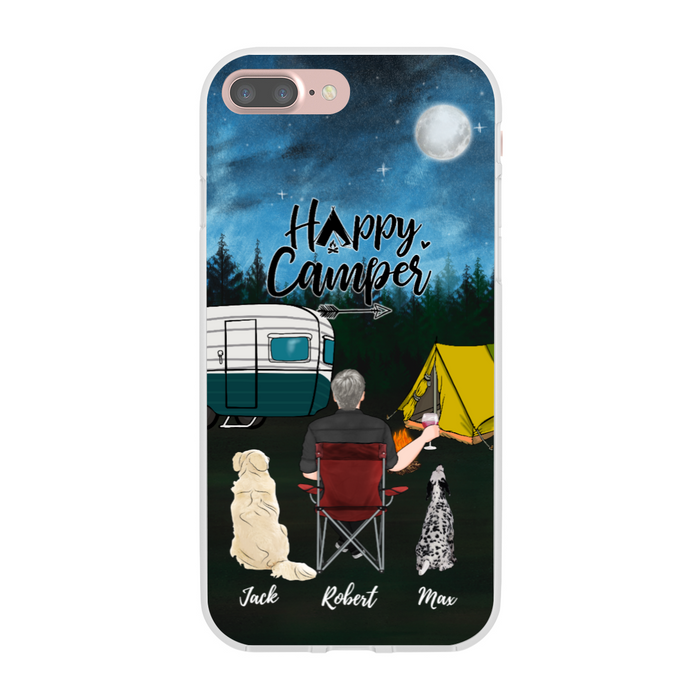 Custom Man and Dogs Phone Case Personalized Gift For Camping Lover