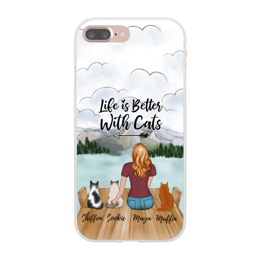 Custom Woman with Cats Phone Case Personalized Gift for Cat Lovers