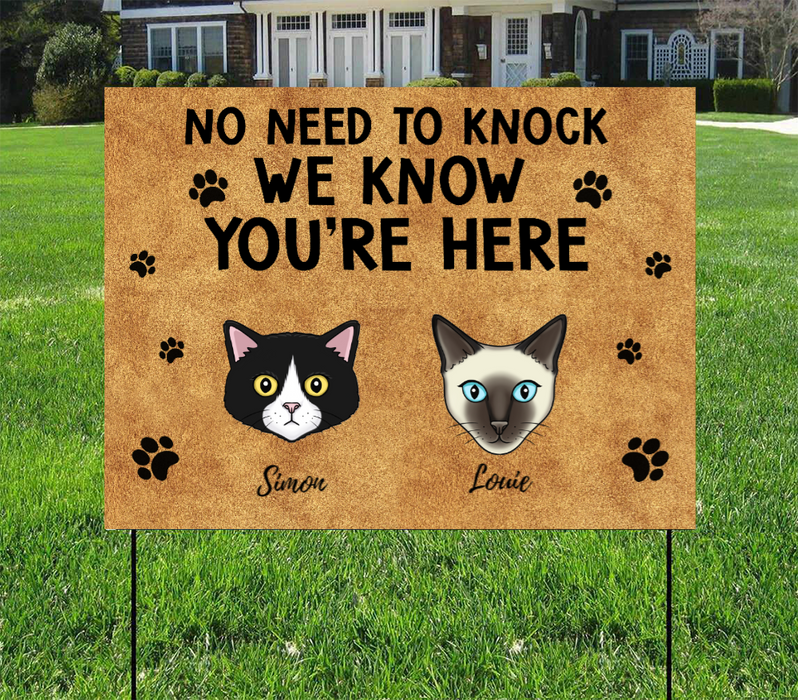 Personalized Yard Sign, No Need To Knock Custom Gift For Cats Lovers