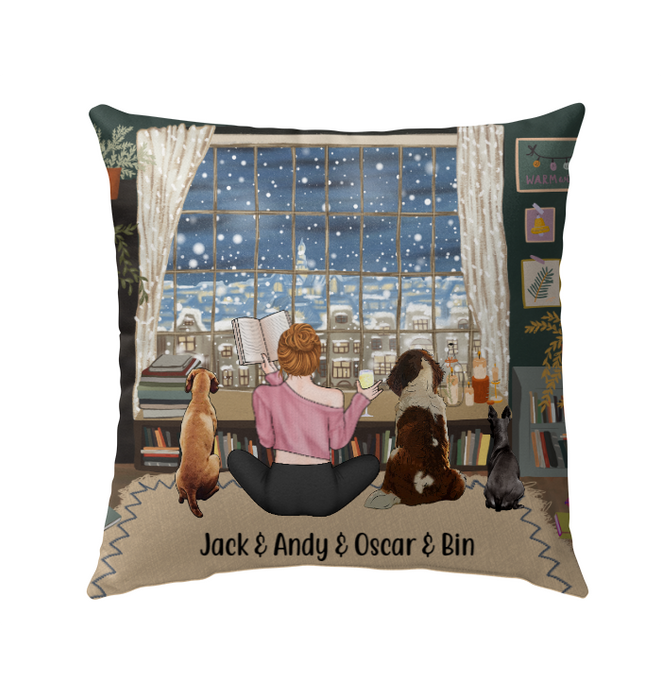 Personalized Pillow, Reading Woman And Dogs Custom Gifts For Book Lovers