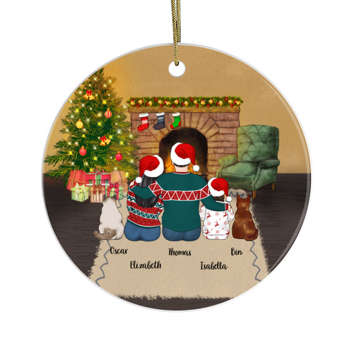 Personalized Ornament - Couple And Kid With Cats Christmas Custom Gift For Cat Lovers