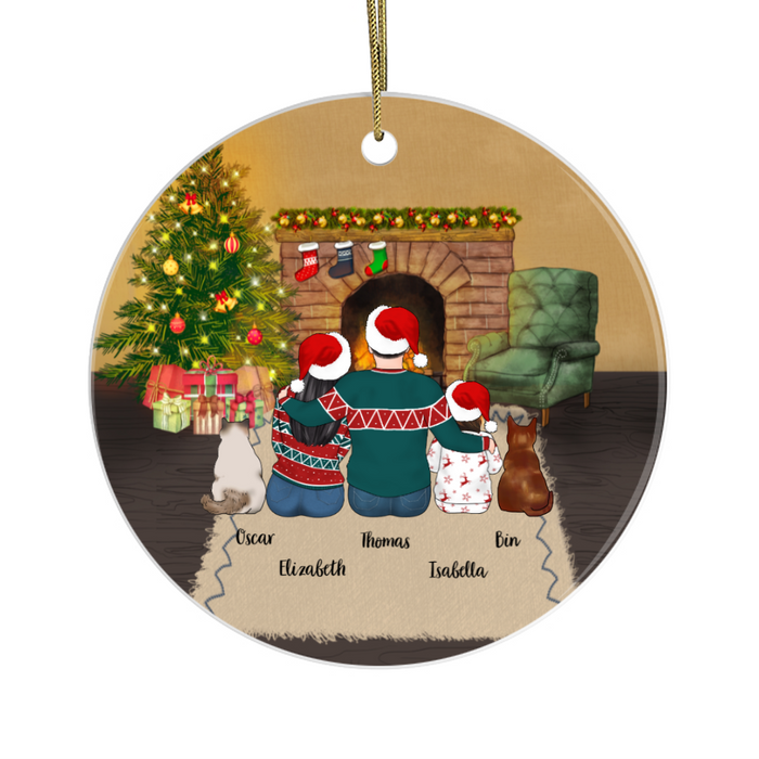 Personalized Ornament, Couple And Kid With Cats Christmas Custom Gift For Cat Lovers