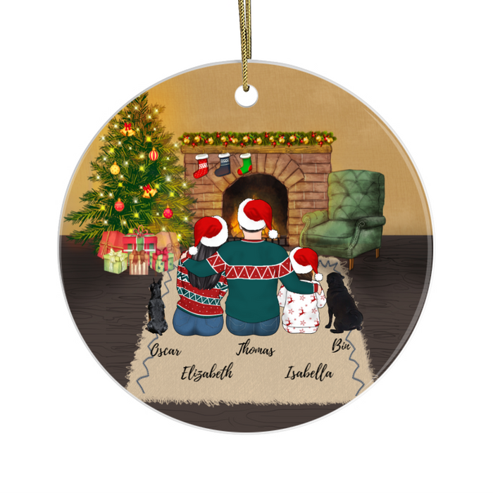 Personalized Ornament - Family Man Woman Kid & Dogs Gift For Christmas