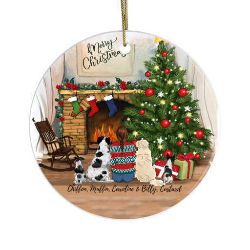 Personalized Ornament - Christmas Girl with Dogs Custom Gift for Dog Lovers