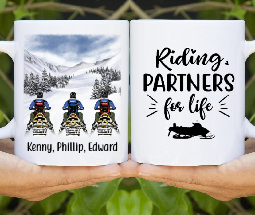 Personalized Mug - Snowmobiling Three Friends Custom Gifts For Snowmobilers