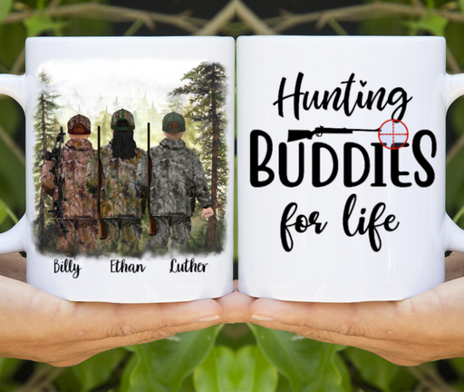Personalized Mug, Hunting Buddies Three Men Custom Gifts for Hunting Lovers