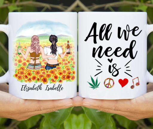 Custom Boho Sisters/ Friends Sunflower Personalized Gift