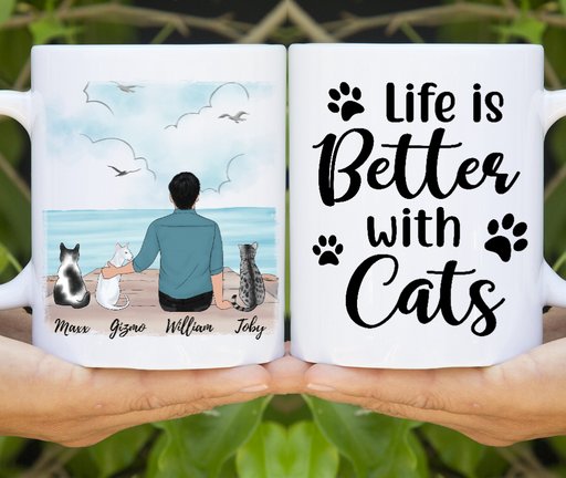 Custom Cat Father Personalized Mug Father's Day Gift