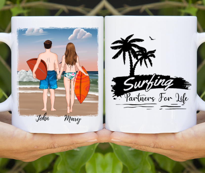 Custom Surfing Partners Personalized Mug Gifts For Surfing Lover Couples