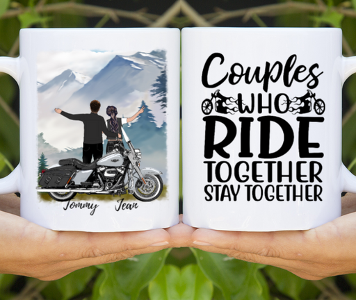 Custom Ride Together Stay Together Motorcycle Lovers Mug Personalized Gift For Biker