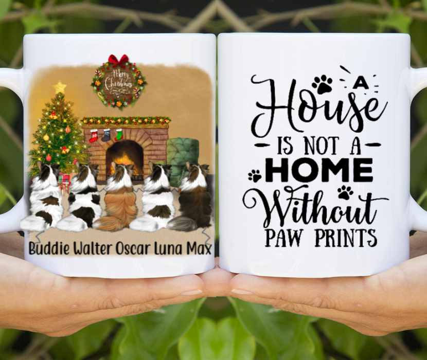 Personalized Mug, Five Dogs Christmas Custom Gifts for Dog Lovers