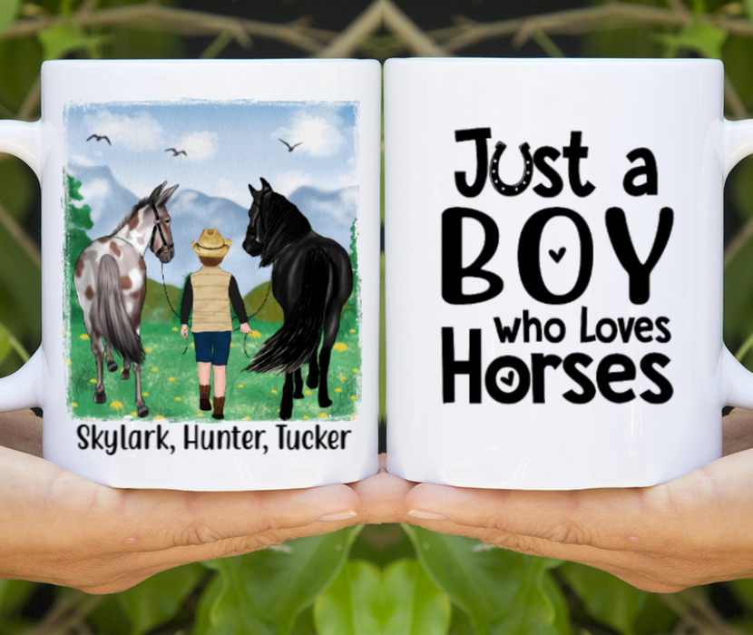 Personalized Mug, Kid Walking With Horses Gifts For Kids Loving Horses