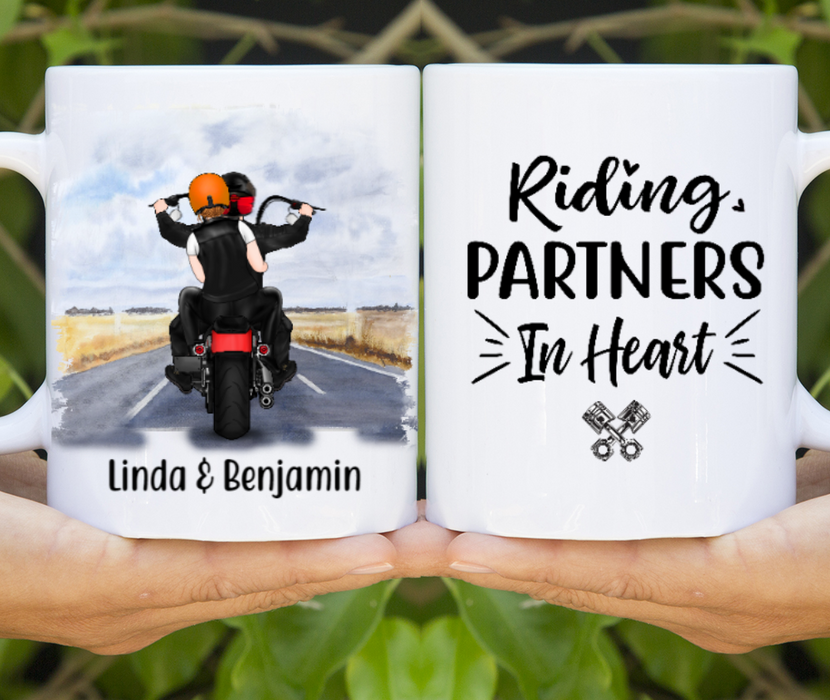 Personalized Mug, Couple On Motorcycle Custom Gift For Bikers