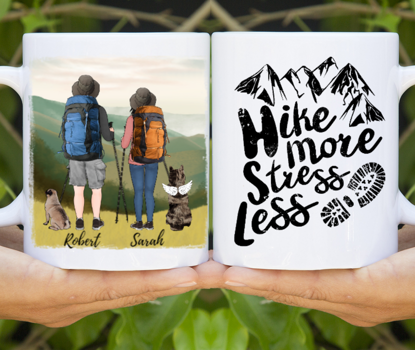 Personalized Mug, Hiking Couple And Dogs For Hiking Camping Lovers