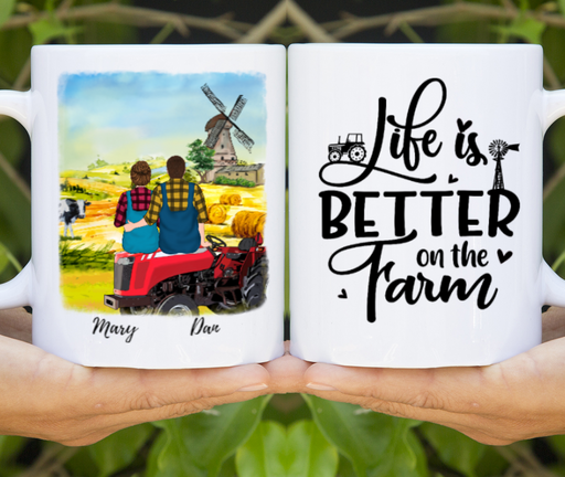 Custom Farmer Couple On Tractor Personalized Mug Gifts For Farming Partners
