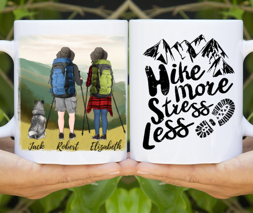 Personalized Mug, Couple And Dog Hiking Partners For Dogs Lovers
