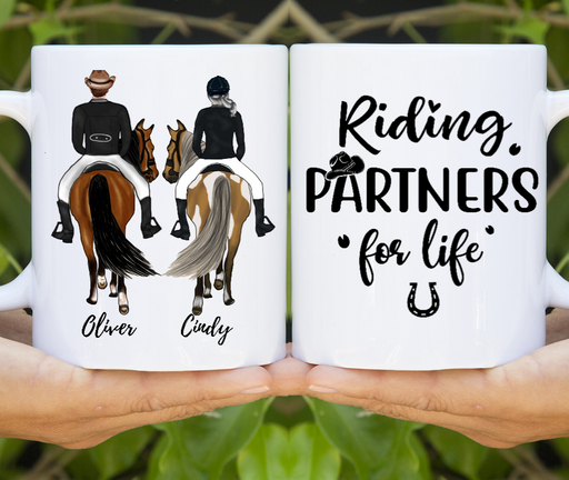 Riding Partners for Life Couple Horse Lover Personalized Custom Couple Mug