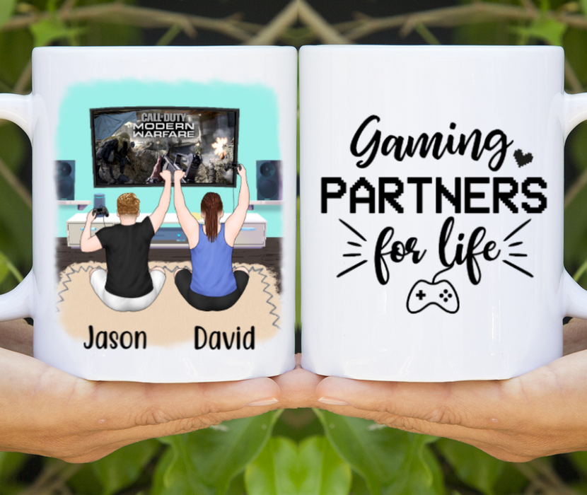 Personalized Mug, Gaming Partners Two Men Custom Gift For Video Game Lovers