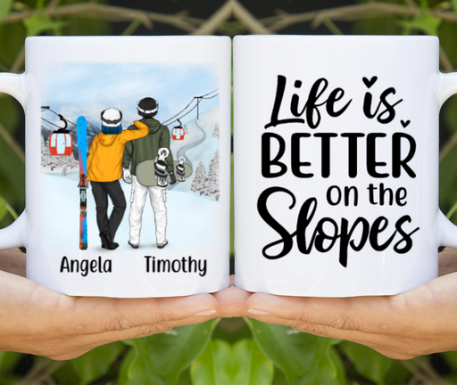 Personalized Mug, Skiing And Snowboarding Partners Custom Gifts for Skier Snowboarders Couple