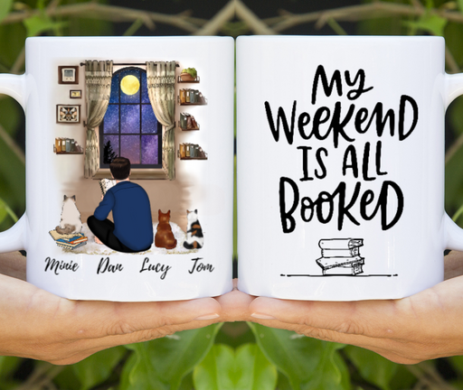 Custom Man Reading Book And Cats Personalized Mug Gift For Book Cat Lover
