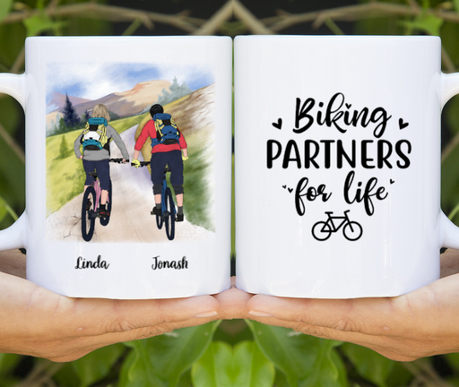 Personalized Mug, Mountain Biking Partners Custom Gifts for Cycling Lovers