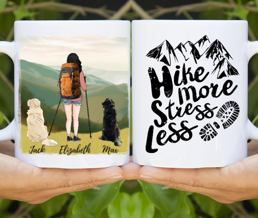 Personalized Mug, Custom Mug Girl Hiking and Dog