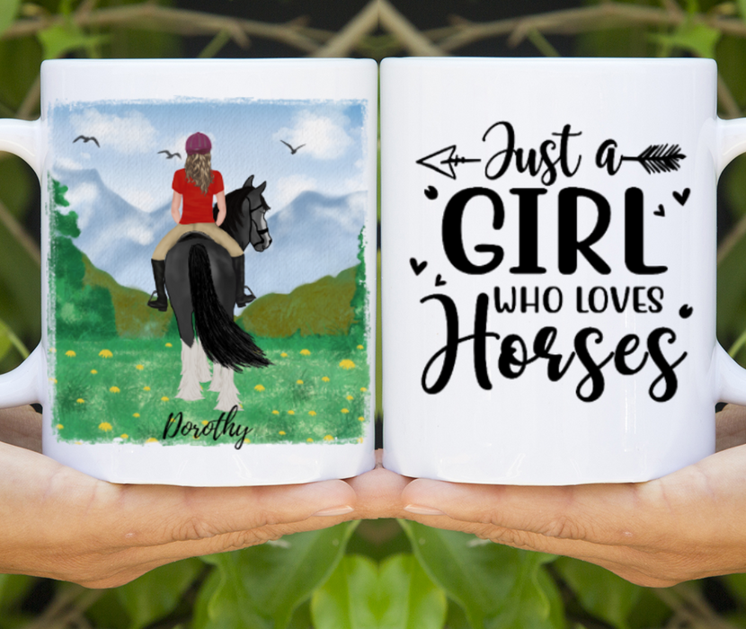Custom Girl Riding Horse Mug Personalized Gift for Horse Lovers