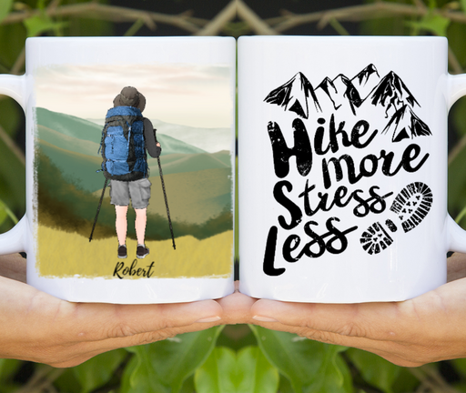 Personalized Mug, Custom Mug Hiking Man