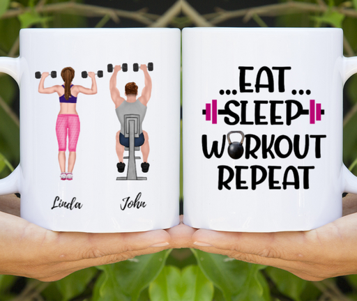 Custom Workout Couple Personalized Mug Gifts For Gym Lovers