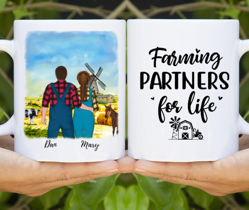 Custom Couple Farming Partners For Life Personalized Mug Gifts For Farmers