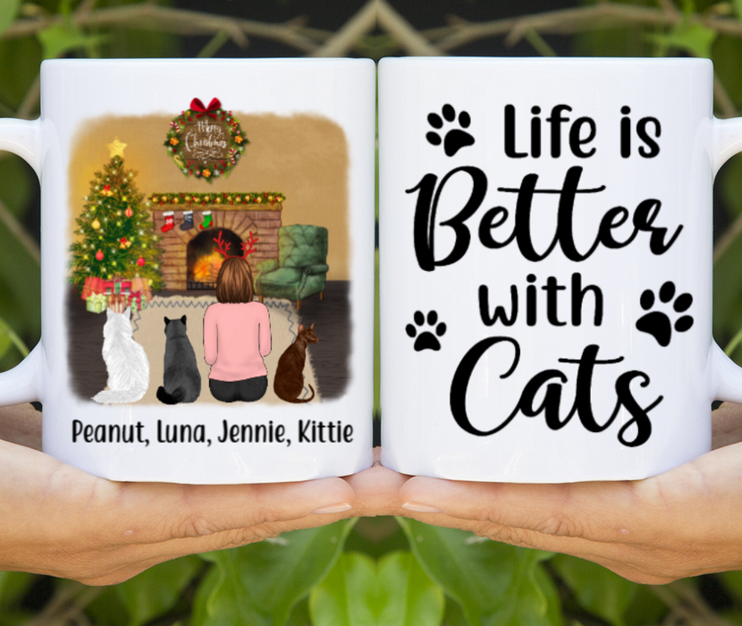 Personalized Mug, Woman And Cats Christmas Gifts For Cat Lovers