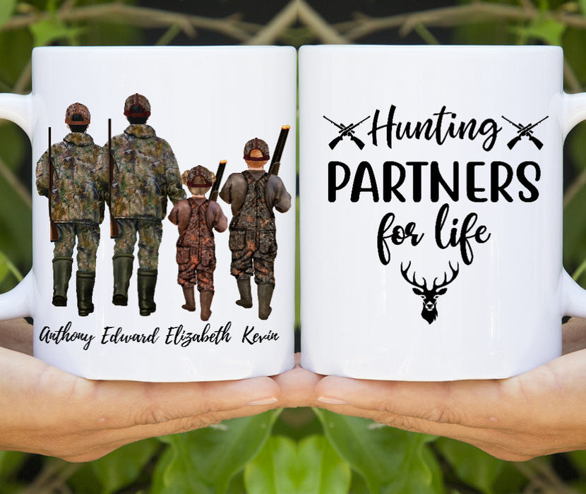 Dad & Three Kids Hunting Lover Customize mug