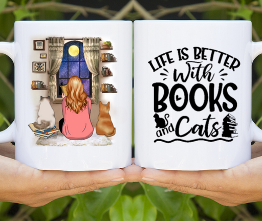 Custom Girl Reading Book And Cats Personalized Mug Gifts For Book Lovers Cat Lovers Without Name