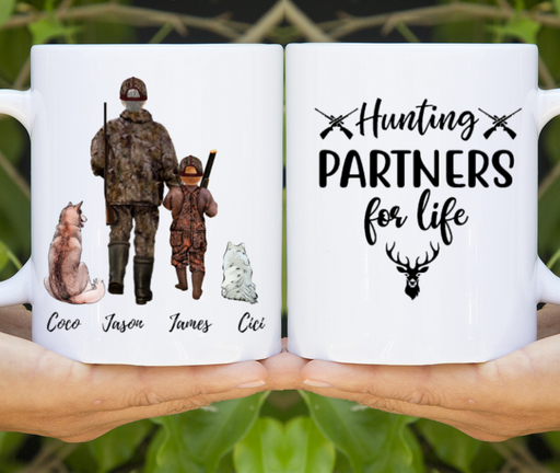 Custom Hunting Father & Kid with Dogs Mug Personalized Gift for Hunting Lovers