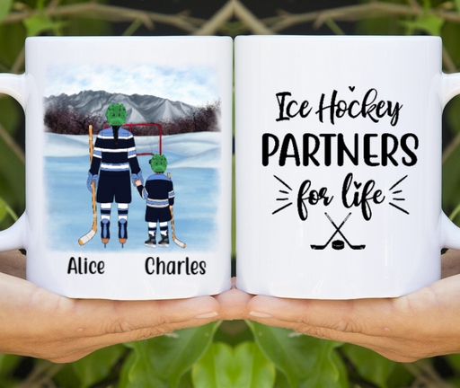 Personalized Mug, Ice Hockey With Kid Gifts For Mother Father