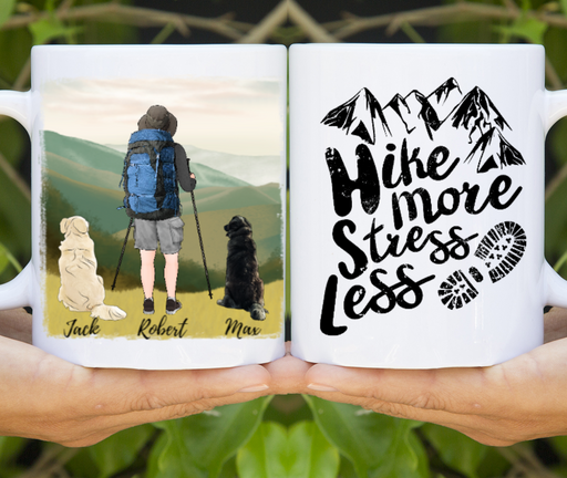 Personalized Mug, Man Hiking Partners and Dog