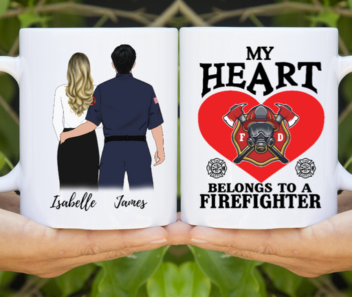 Personalized Mug My Heart Belong To A Firefighter