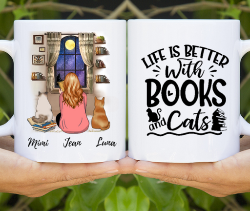 Custom Girl Reading Book And Cats Personalized Mug Gifts For Book Lovers Cat Lovers